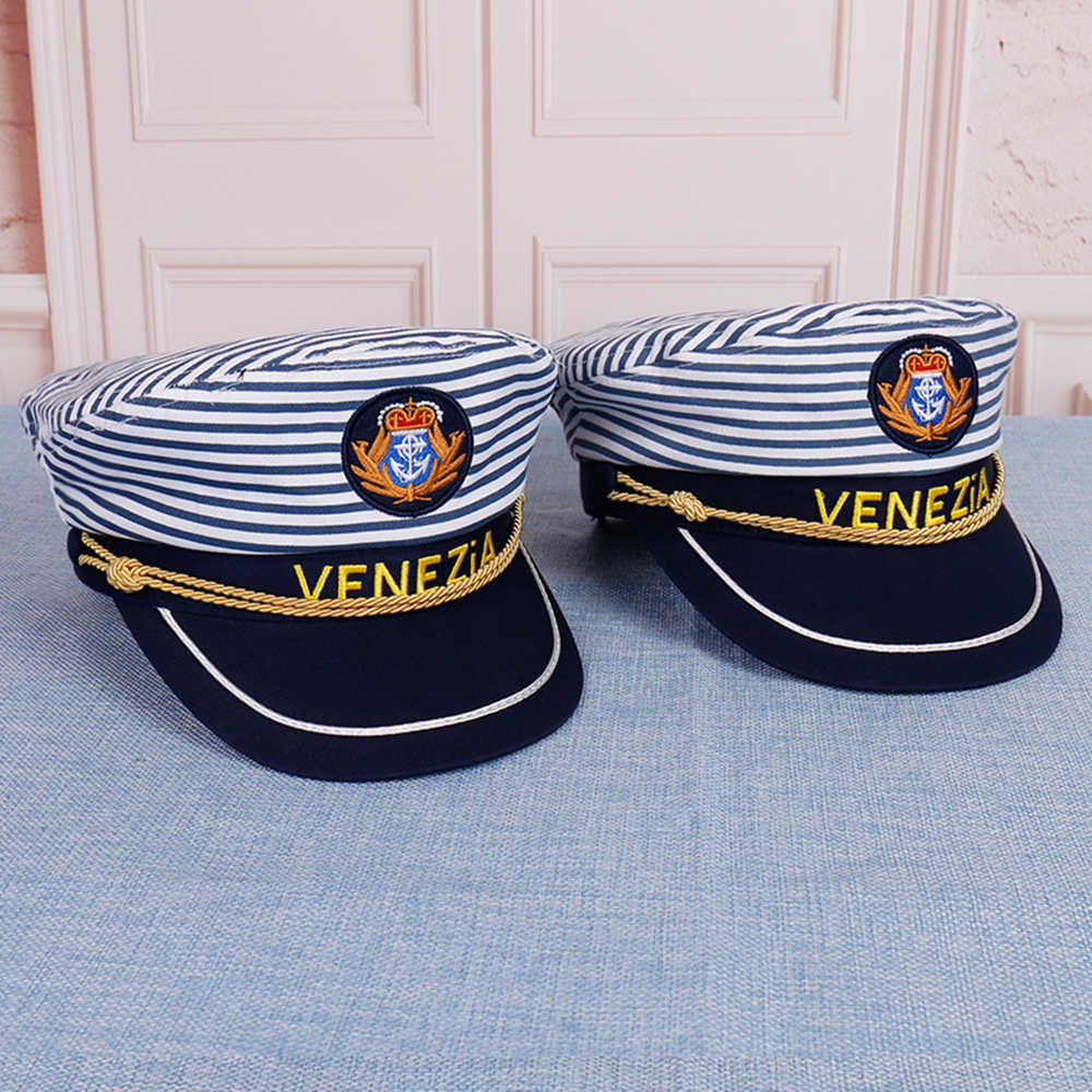 1 Pcs Military Nautical Hat White Yacht Captain Hat Navy Cap  Sailor Cap Costume For Adults Party Fancy Dress Cosplsy Hat