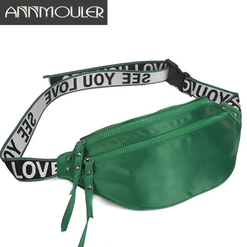 Annmouler Waterproof Waist Bags For Women Green Fanny Pack Phone Pouch Bag Polyester Orange Chest Bag High Quality Bum Bag