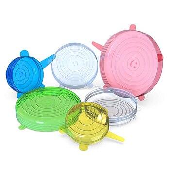 6 unidades/juego De Tapas De Silicona reutilizables Para Alimentos, Tapas De Silicona...