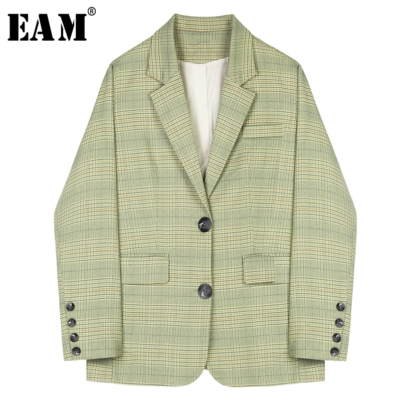 [EAM] Loose Fit Plaid Split Joint Jacket New Lapel Long Sleeve Women Coat Fashion Tide All-match Spring Autumn 2020 1A573