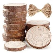 45#10/24 предмета в комплекте 6-7 см незавершенной просверленные деревянные ломтики круглого бревна диски с 33 футов