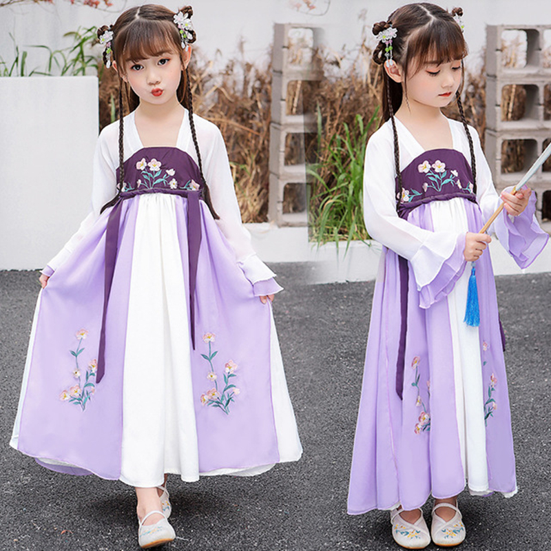 Hanfu Girls 2020 New Children Princess Skirt Costume Chest Dress Students Chinese Skirt Hanfu Tang Suit Super Fairy Hanfu Dress