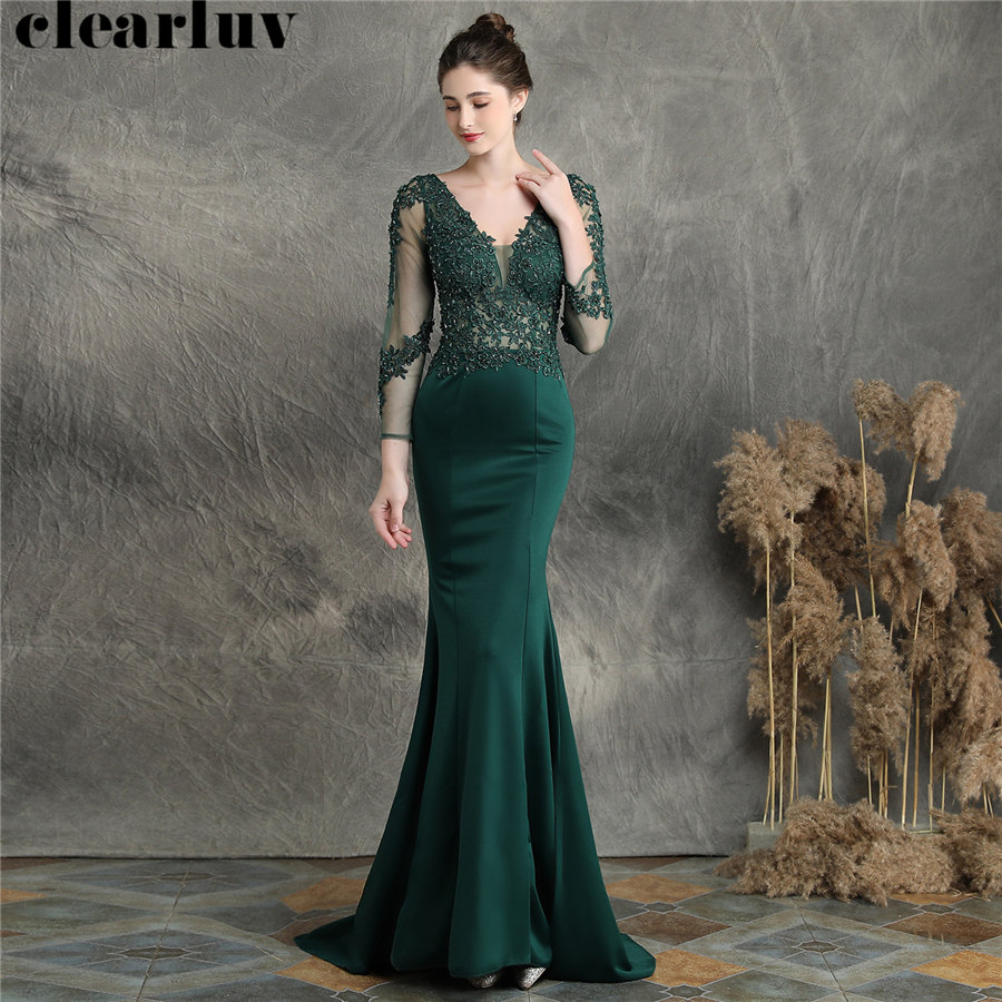 Appliques Mermaid Evening Dresses Robe De Soiree V-Neck Beading Women Party Dress DX253 2019 Plus Size Long Sleeves Formal Gowns