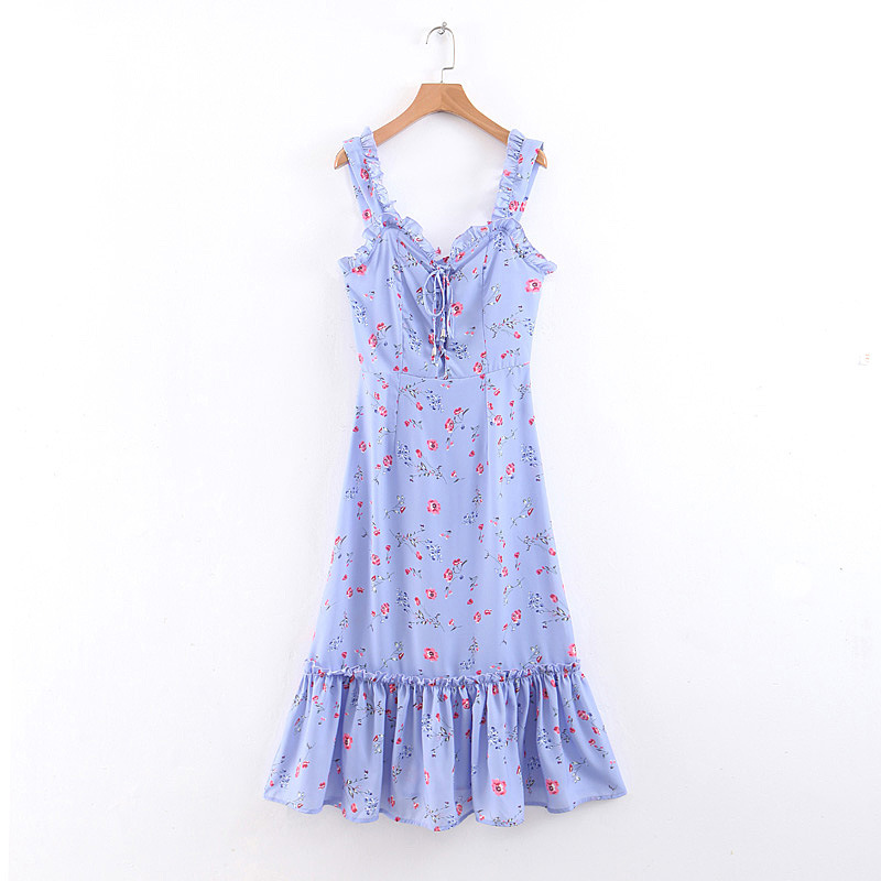 B6654-Western Style WOMEN'S Dress 2019 Summer New Style Chest Lace Up Front Flounced Printing Slip Dress