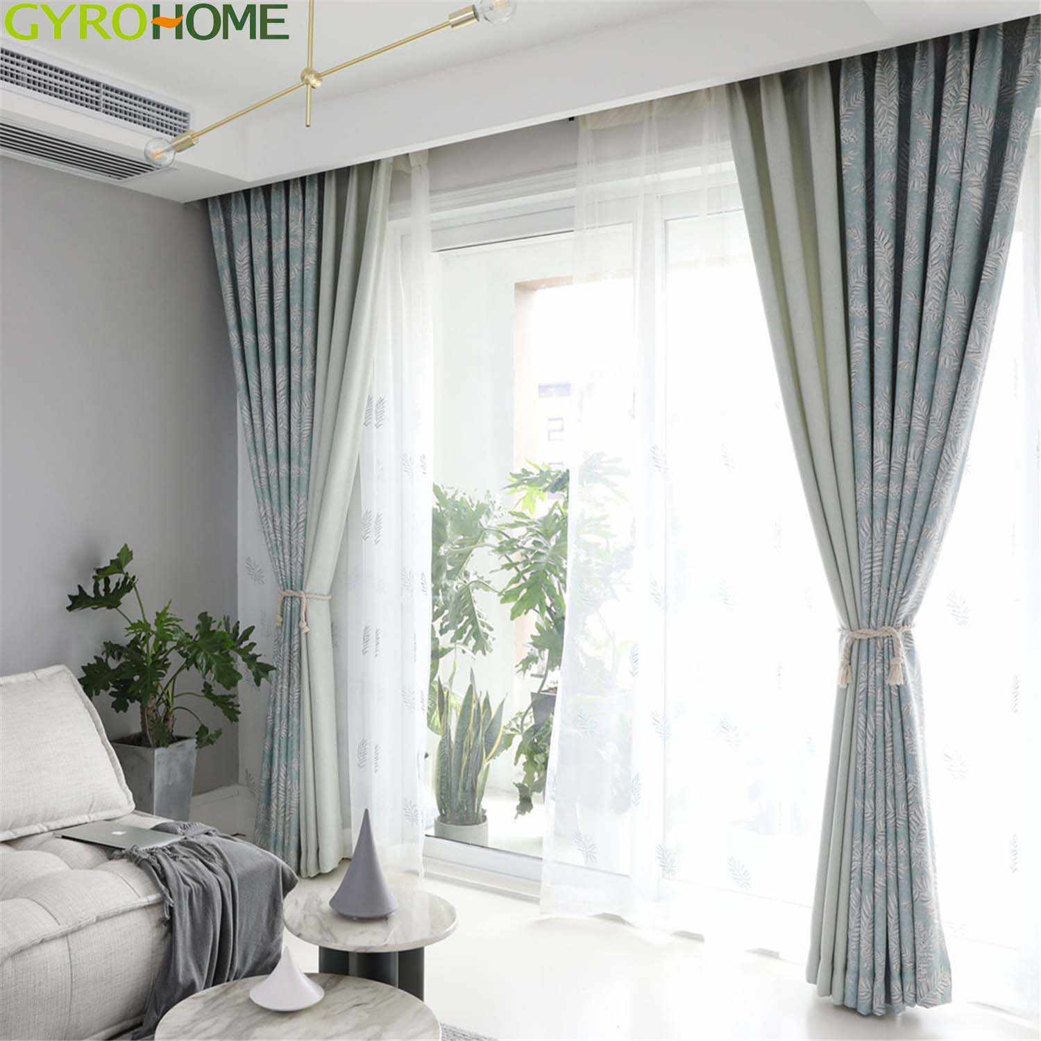 Light Blue Coffee Jacquard Curtains For Living Room Kitchen Bedroom Modern Simple Leaves Window Drapes Curtains Aliexpress