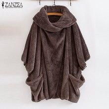 Zanzea 2021 Winter Warm Fluffy Jassen Vrouwen Jassen Mouw Vrouwelijke Knop Uitloper Poncho Herfst Vest Plus Size Tops