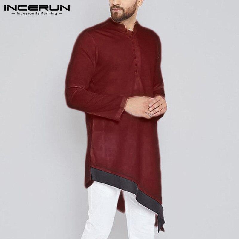 INCERUN 2019 Indian Men Shirt Stand Collar Long Sleeve Casual Patchwork Vintage Retro Irregular Shirts Men Muslim Clothing