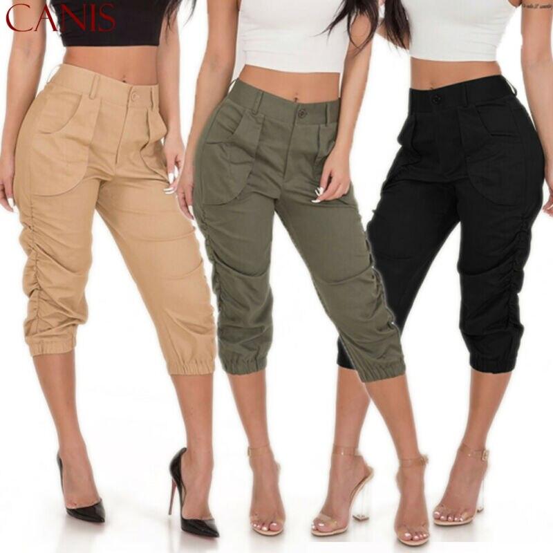 Womens Cropped 3/4 Leggings Active Capri Length Stretch Pants Soild Running Gym