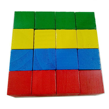 16/20Pcs/Set Colorful Cubes Wooden Building Blocks Stack Tower Collapses Games Stacking Up Square Wood Toy Educational Gift - 16pcs