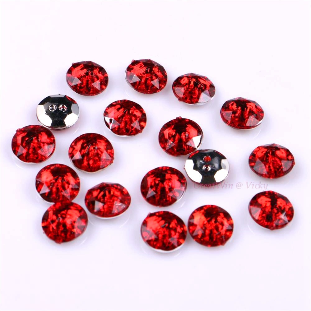 50 Red Acrylic Flatback Sewing Rhinestone Round Button 20mm Sew on beads