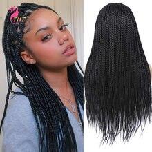 Парик для чернокожих женщин Синтетические длинные плетеные волосы