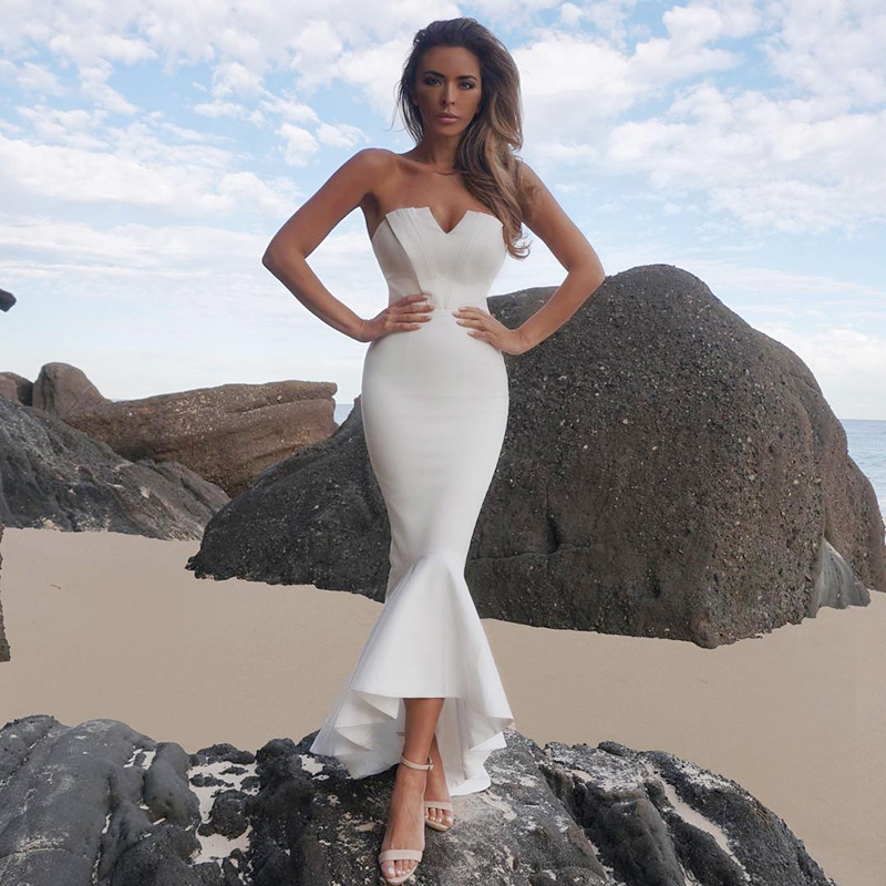 <font><b>New</b></font> <font><b>Fashion</b></font> <font><b>Sexy</b></font> Strapless <font><b>Backless</b></font> <font><b>White</b></font> Long Bandage <font><b>Dress</b></font> <font><b>2018</b></font> Knitted Elegant Designer Party <font><b>Dress</b></font> image