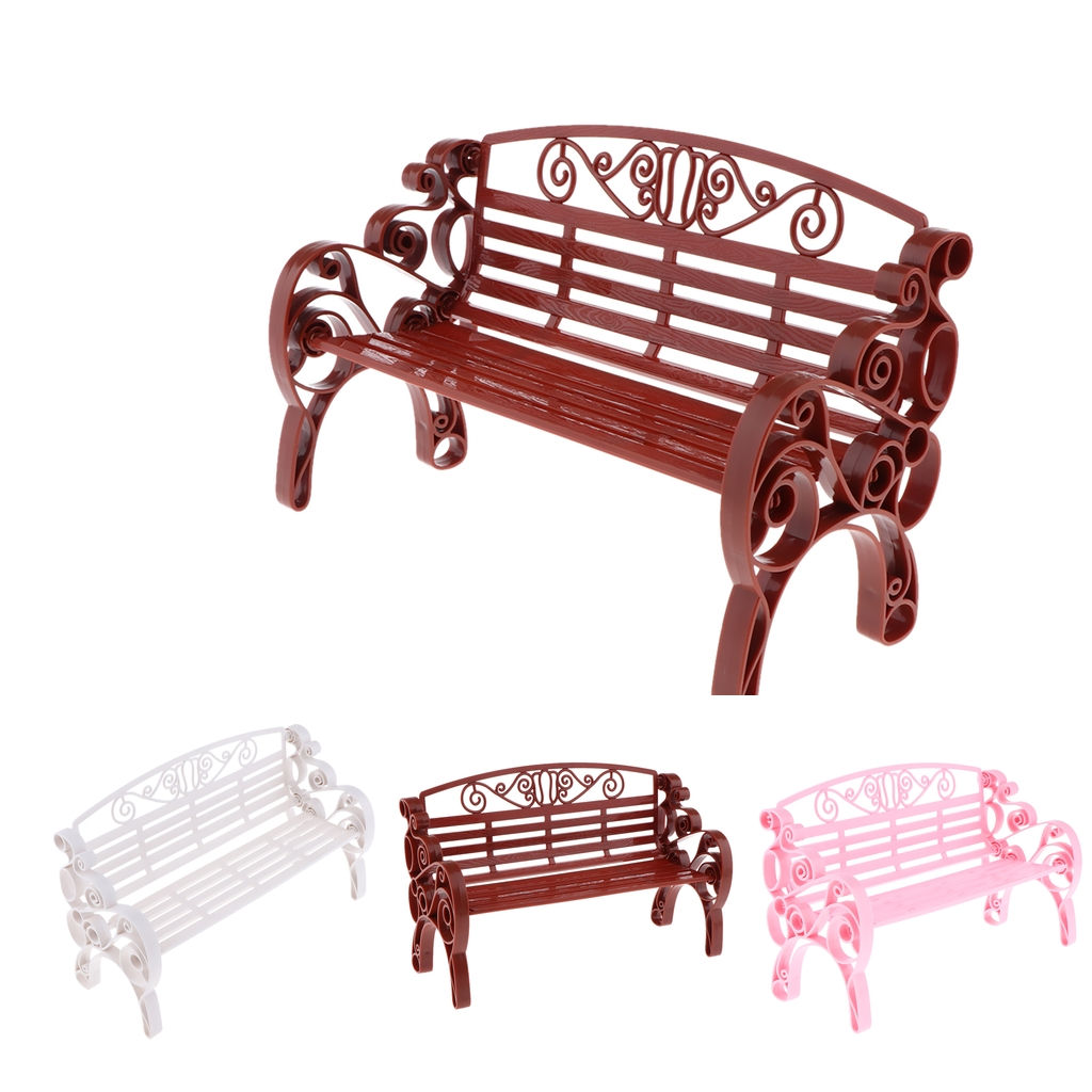 1:6 Scale Dollhouse Miniature Furniture Plastic Garden Patio Park Bench Doll House Accessories