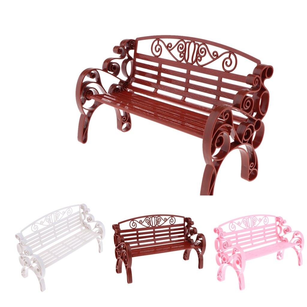 1:6 Scale Dollhouse Miniature Furniture Plastic Garden Patio Park Bench Doll House Accessories