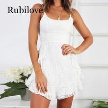 Rubilove White Ruffle Print Summer Dress Women Spaghetti Bodycon Sexy Mini Dress Sleeveless Casual A-Line Dress