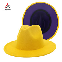 2020 New Yellow Purple Patchwork Wool Felt Jazz Fedora Hats with Belt Buckle Men Women Wide Brim Panama Cowboy Trilby Hat L/XL(China)
