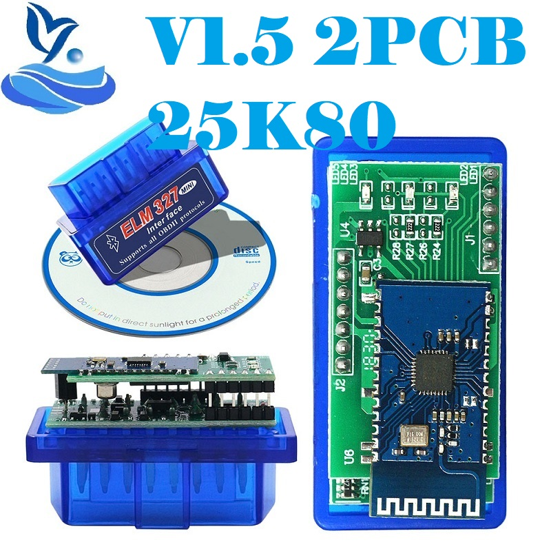 2020 мини ELM327 V1.5 PIC18F25K80 OBD2 сканер ELM 327 1,5 OBDII Bluetooth диагностический инструмент сканирования ELM 327 V1.5 25K80 чип