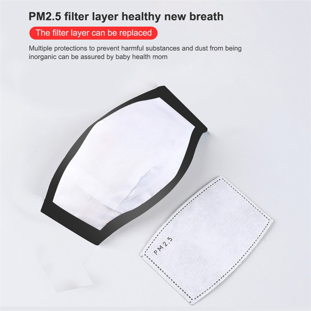 #H30 2 PCS 3-8 Years Children Cotton Breath Mouth Mask Washable Reusable Mask Filters Mouth Respirator for Kids 2