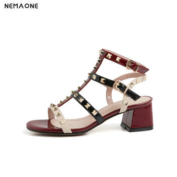 2020 New Patent Leather Women Sandals Fashion Rivet Decoration Square High Heel Women Shoes Ladies Summer Casual Party Sandals