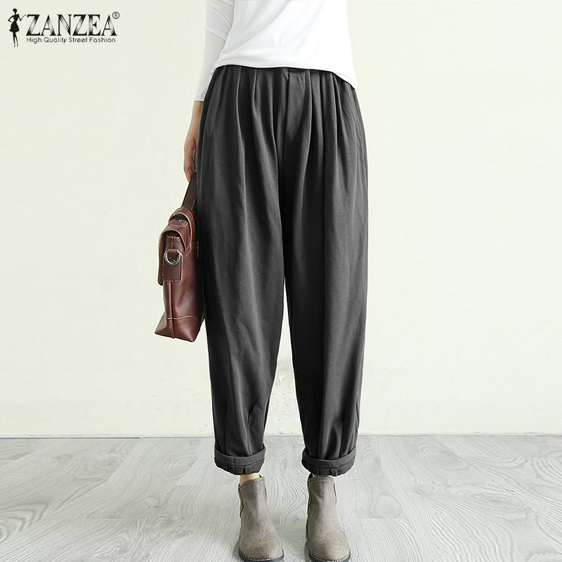 Plus Size Women's Casual Trousers ZANZEA 2020 Spring Harem Pants Elastic Waist Solid Long Pantalon Palazzo Female Solid Turnip