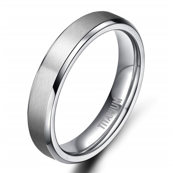 Brushed Silver Titanium Ring With Polished Bevelled edges and Lining 6