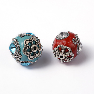 Image 3 - 100pcs 11 21mm Handmade Indonesia Beads with Alloy Cores Round Mixed Style Mixed Color DIY Jewelry Making Handicrafts Supplies
