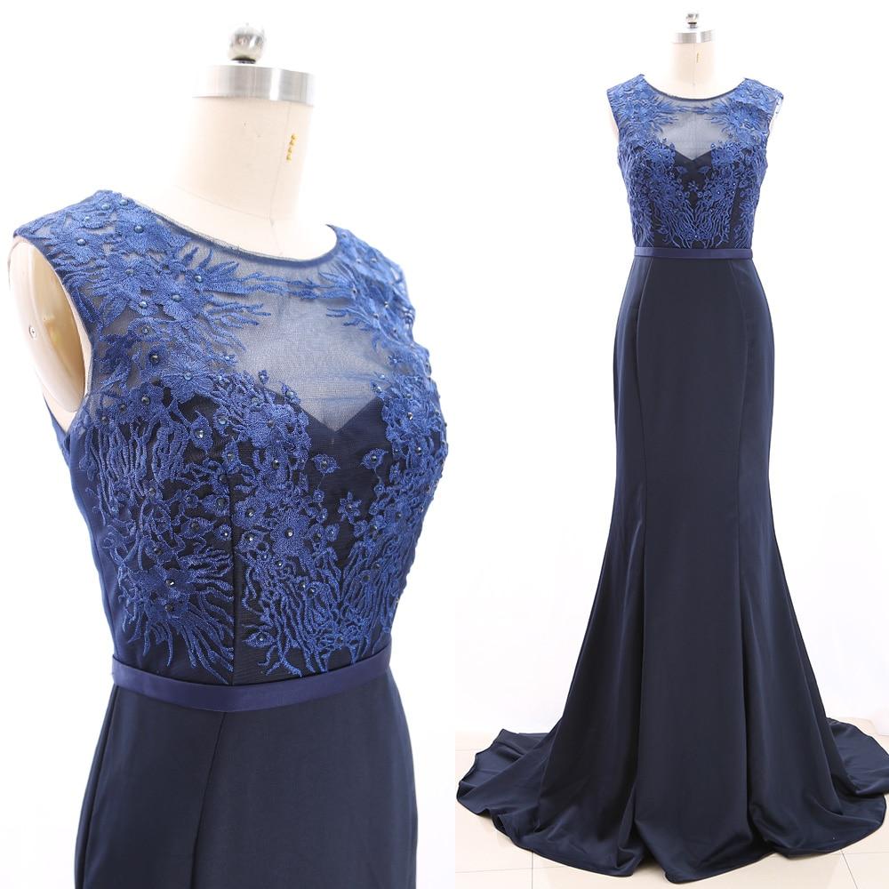 MACloth Dark Navy Sheath O Neck Floor-Length Long Embroidery Satin   Prom     Dresses     Dress   S 266608 Clearance