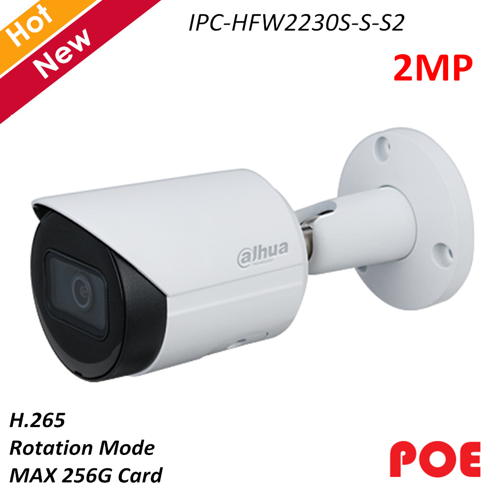 Dahua Poe IP Camera  IPC-HFW2230S-S-S2 2MP H.265 IR LED Low Illuminance Bullet Network Camera Replace IPC-HFW1230S Security Cam