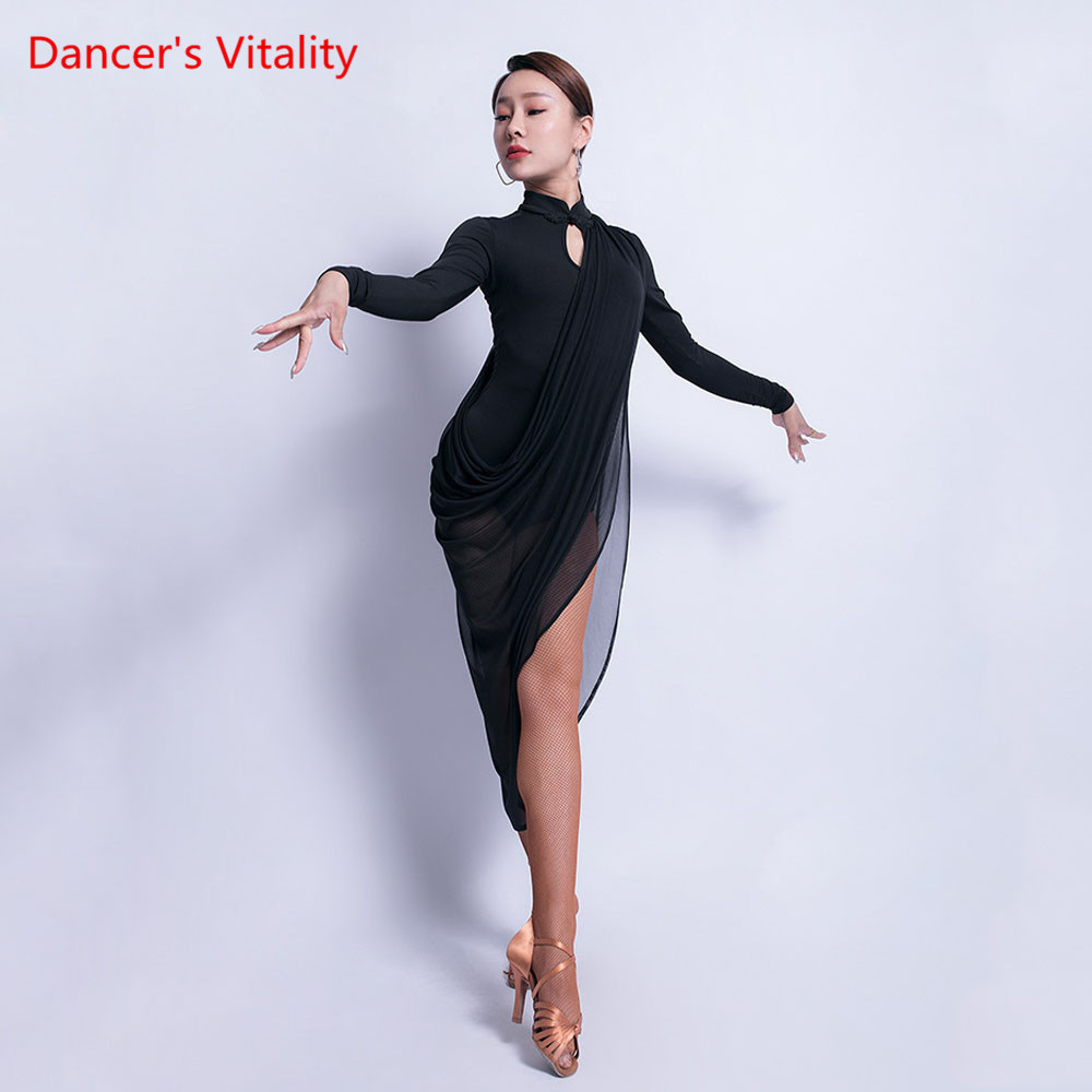 Latin Dance Skirt New Female Adult Sexy V-neck Dress Performance Clothing Long Sleeve Professional Practice Clothes
