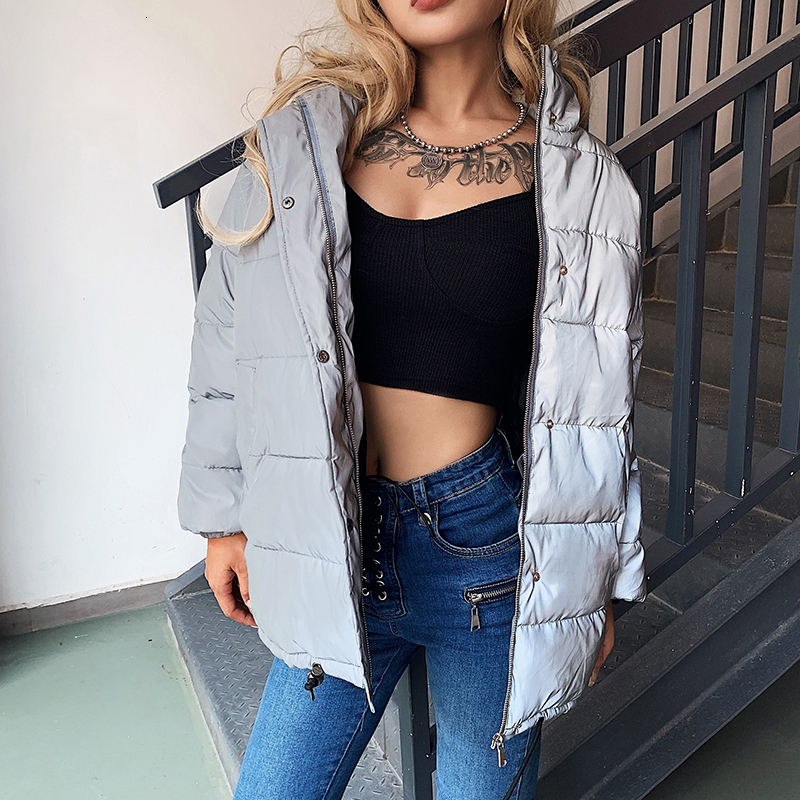 H5e283c1a169043dc9036d8db176162b3K Women Oversized Cotton Cropped Jacket Fashion Winter Thick Pullover Night Reflection Coat Ins Female Warm Loose Zipper Outwear
