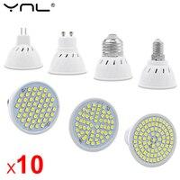 10 unids/lote GU10 MR16 LED E27 E14 bombilla de foco LED AC 220V 240V 48 60 80 LEDs bombilla ampolla Lamparas LED interior