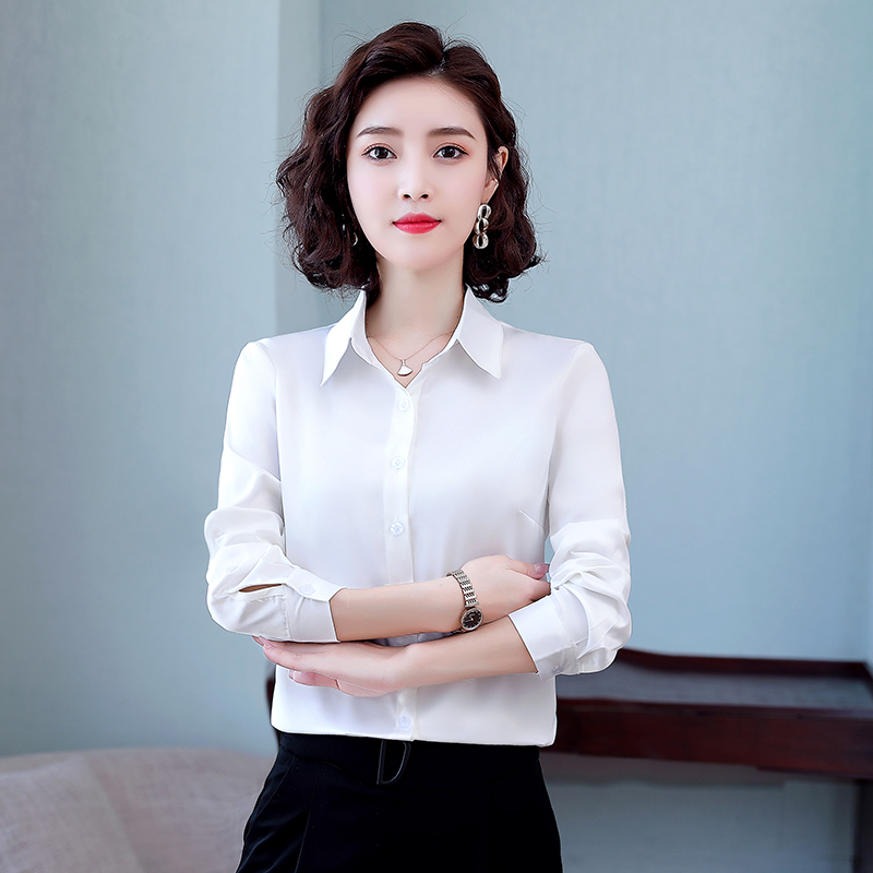 Heavy Silk Shirts Women Long Sleeve Shirts Office Lady White Shirt Silk Blouse for Women Silk Blouses Woman Satin Top Plus Size