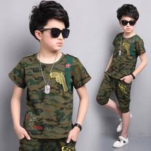 цена Boys Clothing Sets Children Clothing Camouflage Kids Clothes Suits For Boys Clothes Summer Kids Sport Tracksuit 4 6 8 10 12 Year онлайн в 2017 году