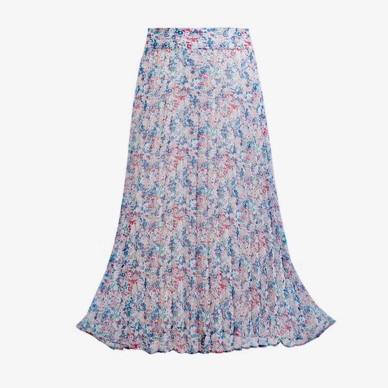 Elegancka, letnia złamany kwiat plisowana spódnica damska spódnica trzy czwarte w Spódnice od Odzież damska na AliExpress - 11.11_Double 11Singles' Day 1