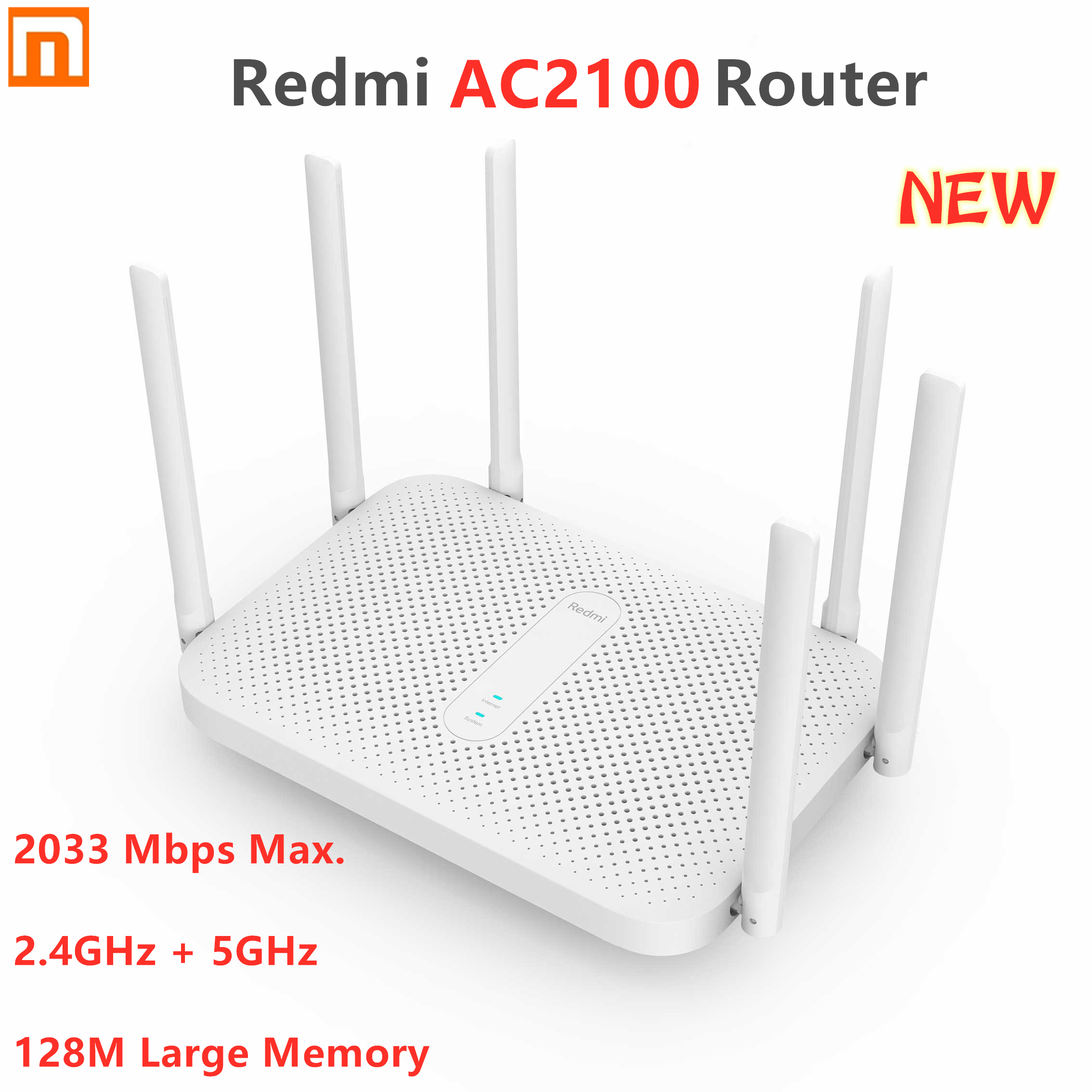 Original Xiaomi Redmi AC2100 Router Gigabit 2.4G 5.0GHz Dual-Band 2033Mbps Wireless Router Wifi Repeater 6 High Gain Antennas