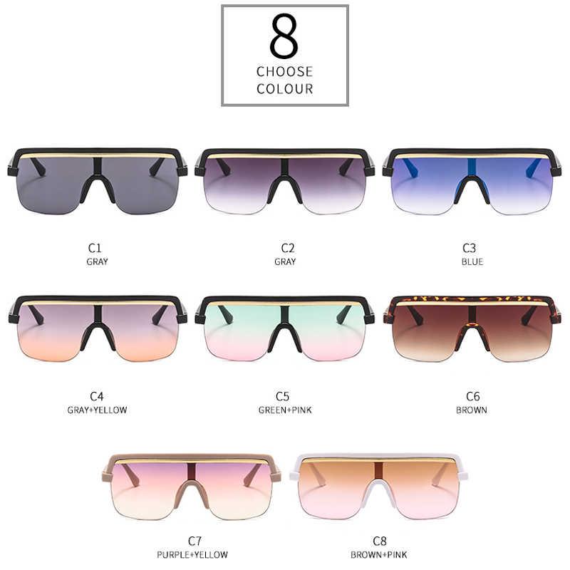 משלוח חינם לברזיל LongKeeper מקשה אחת גדולה משקפי שמש גברים נשים שטוח למעלה שמש משקפיים לנהיגה גוונים UV400