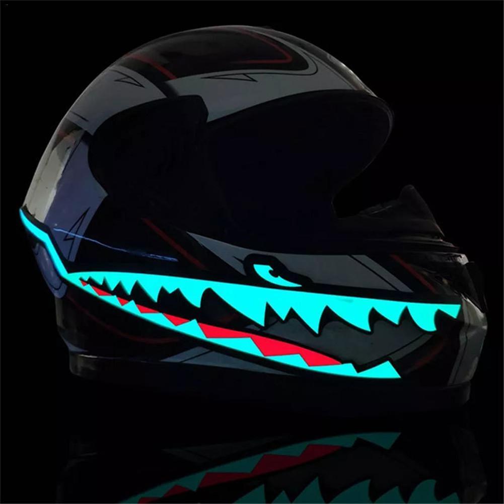 Shark Style Motorcycle Helmet EL Cold Light Helmet Light Strip Night Signal Luminous Modified Strip Helmet Sticker