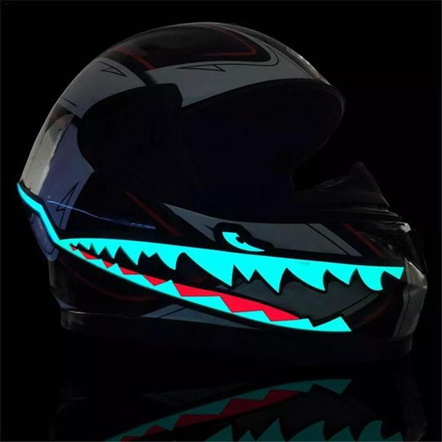 Casque de moto de Style requin   EL lumière froide, bande lumineuse de casque, Signal nocturne, bande lumineuse modifiée, autocollant de casque