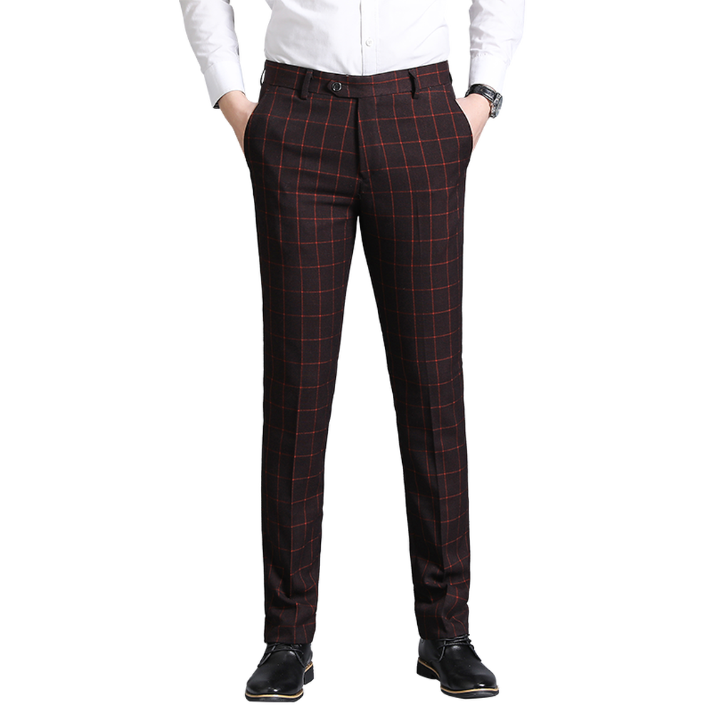 Plaid Trousers Men's Suit Pants Slim Fit Classic Business Casual Male Soft Pants Fashion Straight Type Pants Large Size 29-36 38