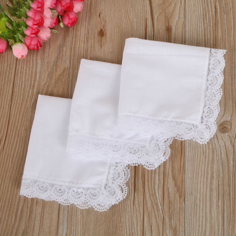 3pcs Cotton Lace Side Small Square Towel DIY Handmade White Handkerchiefs Hotel Tableware Decoration