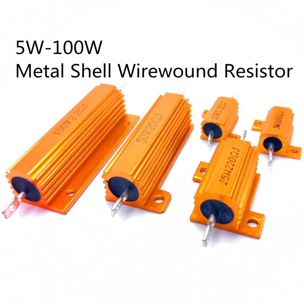 Caso de concha de metal de alumínio de 25w, 50w e 100w, resistor de retiros, 0.01-100k 0.05 0.1 0.5 1 2 6 8 10 20 200 500 1k 10k ohm