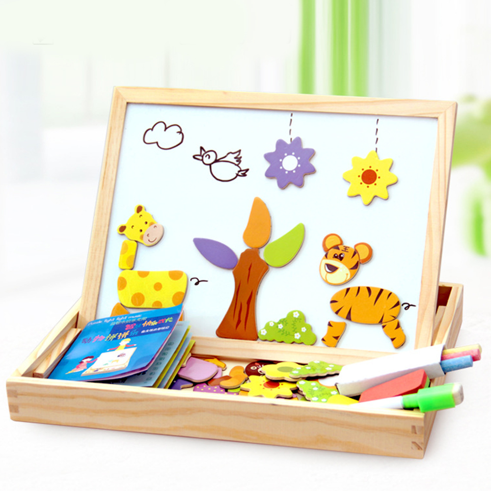 100+Pcs Wooden Magnetic Puzzle Toys Children 3D Puzzle Figure/Animals/ Vehicle /Circus Drawing Board Educational Toys For Kids