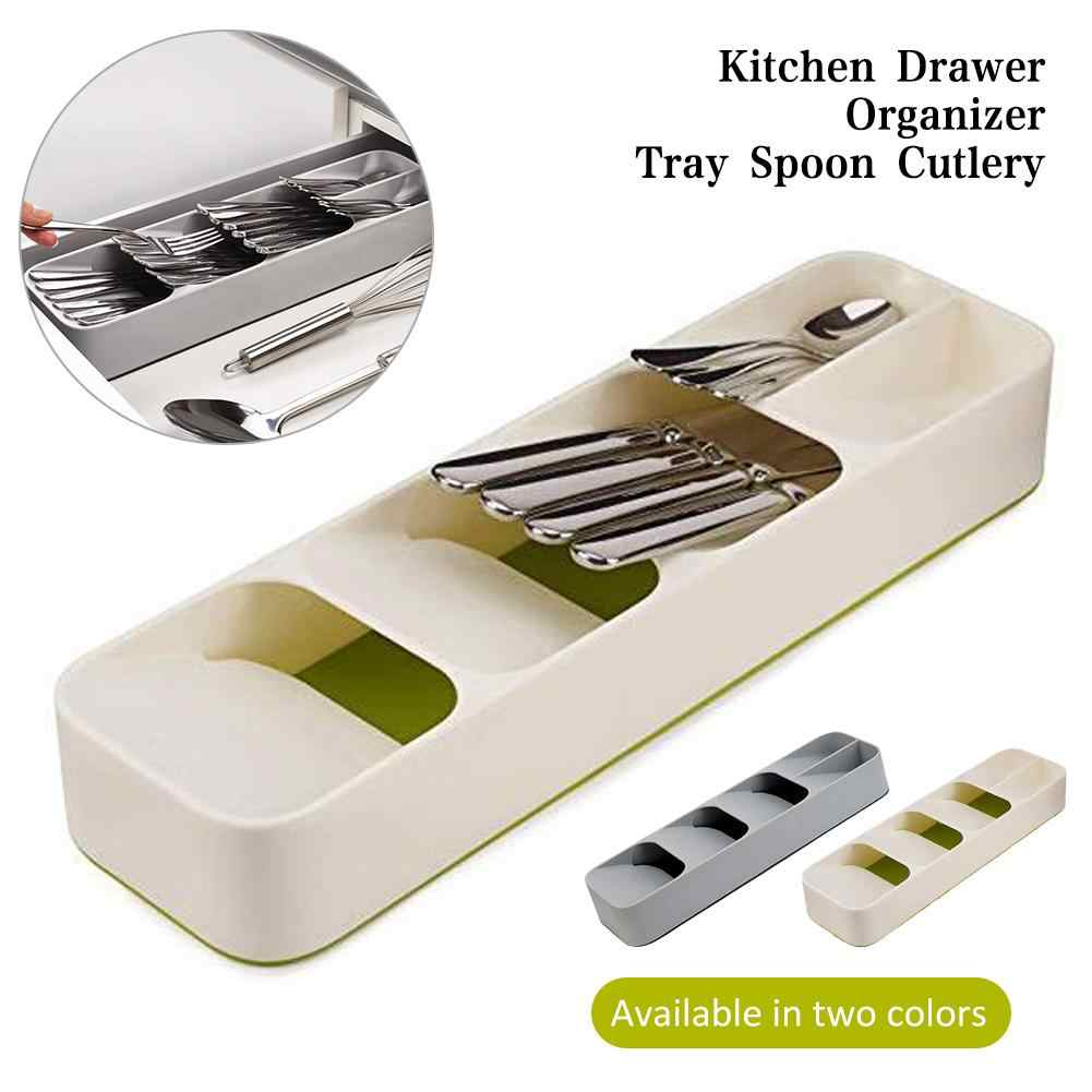 Multi-layer Kitchen Drawer  Cutlery Organizer Tray Spoon Knife Fork Separation Finishing Storage Box