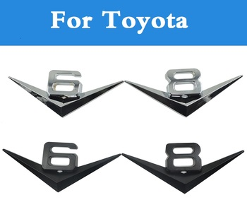 2020 V6 V8 LOGO Decals Stylings Car Tail Stickers Decorations For Toyota Mark II Mark X Mirai MR2 MR-S Opa Passo Platz Premio image