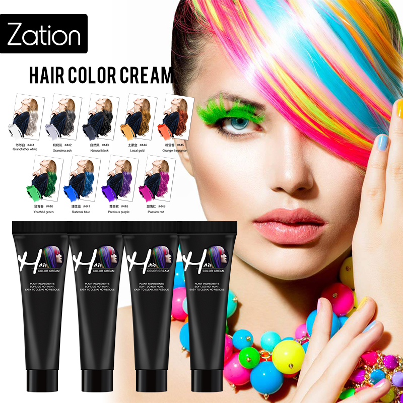 Zation Hair Dye Color Cream Girls Beauty Hair Colors Fashion Hair Cream Unisex Smoky Gray Punk Style Light Grey Silver Permanent