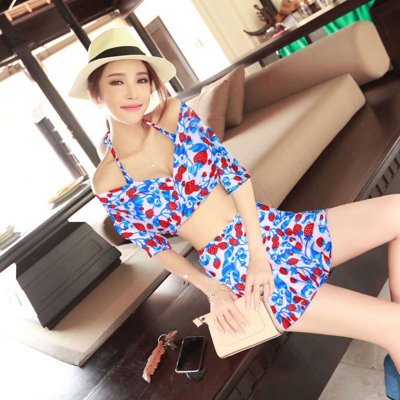 Bathing Suit Women's Split Skirt Bikini Three-piece Set Large Bust Push Up Underwire South Korea Sexy Swimwear Short In Size Cle