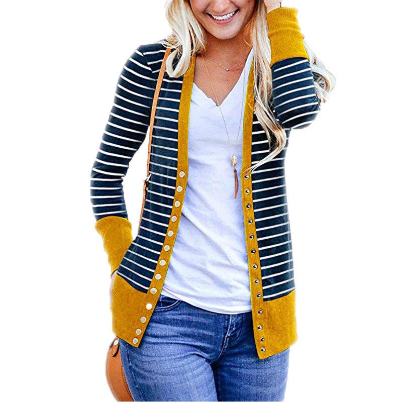 2019 Spring Autumn Female Coat Kardigan Yellow Striped Cardigan Women Long Sleeve V Neck Button Knitted Oversized Cardigan Mujer