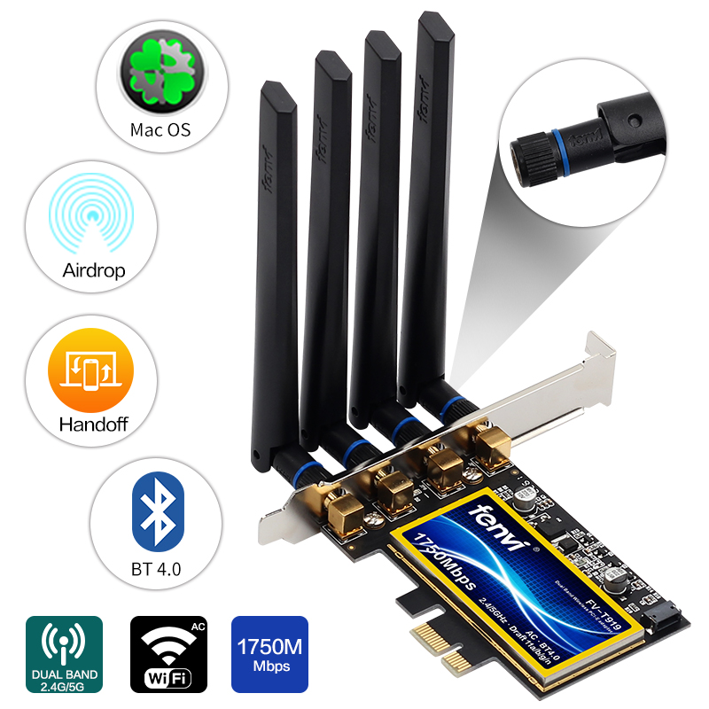 Fenvi T919 For Mac OS PC PCI WiFi Card Continuity Handoff BCM94360CD Native Airport WiFi BT 4.0 1750Mbps 5GHz/2.4GHz WLAN PCI-E