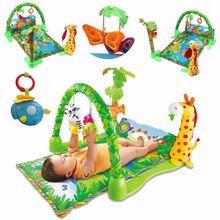 Baby Infant Play Mat Rainforest Musical Gym Baby Gift 3 in 1 Rainforest Musical Gym Lullaby Baby Activity Mat Play Gym Toys(China)