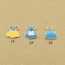 10 pièces 12x14mm fille jupe émail vêtements charme pour la fabrication de bijoux mignon boucle d'oreille pendentif bracelet collier breloques bricolage design breloques